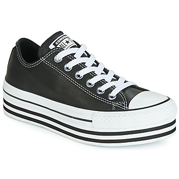 Topánky Ženy Nízke tenisky Converse CHUCK TAYLOR ALL STAR LAYER BOTTOM LEATHER OX Čierna / Biela / Čierna