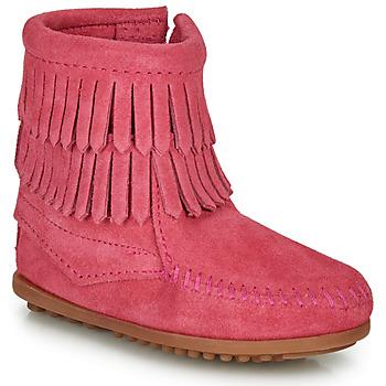 Topánky Dievčatá Polokozačky Minnetonka DOUBLE FRINGE SIDE ZIP BOOT Ružová