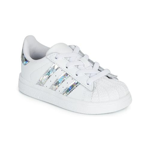 Topánky Dievčatá Nízke tenisky adidas Originals SUPERSTAR EL I Biela / Strieborná
