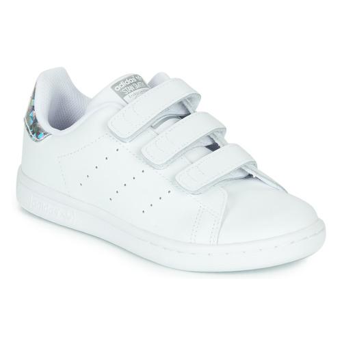 Topánky Dievčatá Nízke tenisky adidas Originals STAN SMITH CF C Biela / Strieborná
