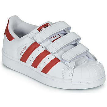 Topánky Deti Nízke tenisky adidas Originals SUPERSTAR CF C Biela / Červená