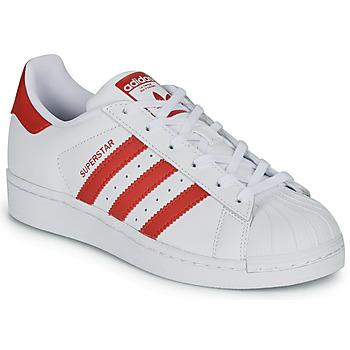 Topánky Deti Nízke tenisky adidas Originals SUPERSTAR J Biela / Červená