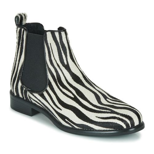 Topánky Ženy Polokozačky Betty London HUGUETTE Čierna / Biela / Zebra