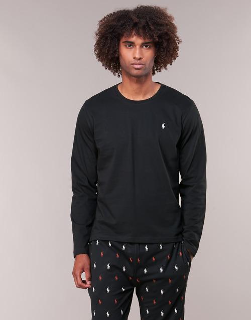 Oblečenie Muži Tričká s dlhým rukávom Polo Ralph Lauren L/S CREW-CREW-SLEEP TOP Čierna