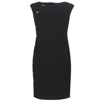 Oblečenie Ženy Krátke šaty Lauren Ralph Lauren BUTTON-TRIM CREPE DRESS Čierna