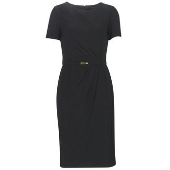 Oblečenie Ženy Dlhé šaty Lauren Ralph Lauren BELTED SHORT SLEEVE DRESS Čierna
