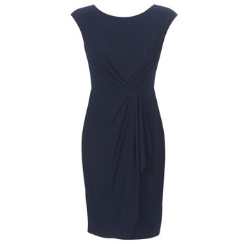 Oblečenie Ženy Krátke šaty Lauren Ralph Lauren RUCHED CAP SLEEVE DRESS Námornícka modrá