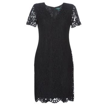 Oblečenie Ženy Krátke šaty Lauren Ralph Lauren SCALLOPED LACE DRESS Čierna
