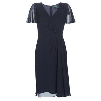 Oblečenie Ženy Dlhé šaty Lauren Ralph Lauren CUTLER CAP SLEEVE DAY DRESS Námornícka modrá