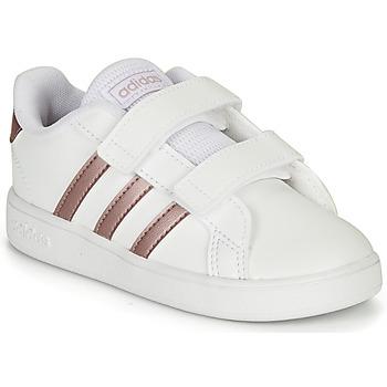 Topánky Dievčatá Nízke tenisky adidas Originals GRAND COURT I Biela