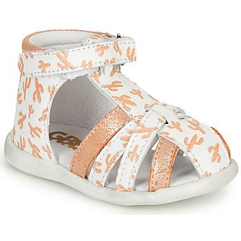 Topánky Dievčatá Sandále GBB AGRIPINE Biela / Oranžová