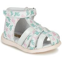 Topánky Dievčatá Sandále GBB AGRIPINE Biela / Zelená / Ružová