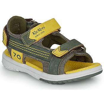 Topánky Chlapci Sandále Kickers PLANE Kaki / Žltá