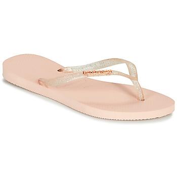Topánky Ženy Žabky Havaianas SLIM LOGO METALLIC Ružová