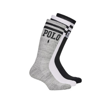Doplnky Muži Ponožky Polo Ralph Lauren 3PK DBLE BAR-CREW-3 PACK Biela / Šedá / Čierna