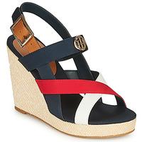 Topánky Ženy Sandále Tommy Hilfiger BASIC HARDWARE HIGH WEDGE SANDAL Modrá / Biela / Červená