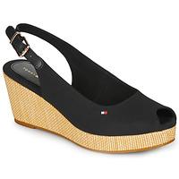 Topánky Ženy Sandále Tommy Hilfiger ICONIC ELBA SLING BACK WEDGE Čierna