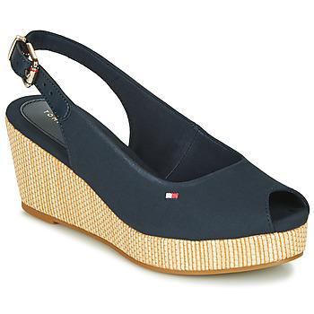 Topánky Ženy Sandále Tommy Hilfiger ICONIC ELBA SLING BACK WEDGE Modrá