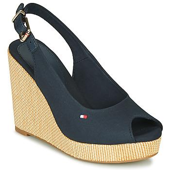 Topánky Ženy Sandále Tommy Hilfiger ICONIC ELENA SLING BACK WEDGE Modrá