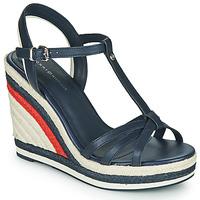 Topánky Ženy Sandále Tommy Hilfiger TOMMY STRAPPY HIGH WEDGE Modrá