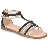 Topánky Dievčatá Sandále Geox J SANDAL KARLY GIRL Čierna / Zlatá