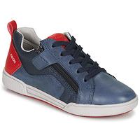 Topánky Chlapci Nízke tenisky Geox J POSEIDO BOY Námornícka modrá / Červená