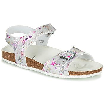 Topánky Dievčatá Sandále Geox J ADRIEL GIRL Strieborná