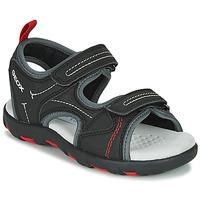 Topánky Chlapci Športové sandále Geox JR SANDAL PIANETA Čierna / Červená
