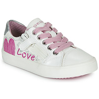 Topánky Dievčatá Nízke tenisky Geox J GISLI GIRL Biela / Ružová / Strieborná