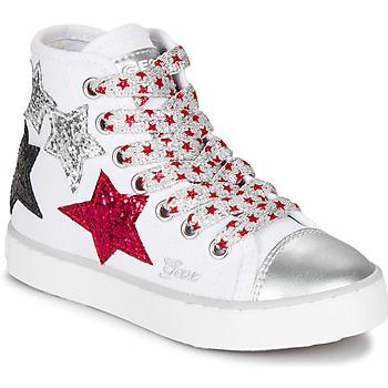 Topánky Dievčatá Členkové tenisky Geox JR CIAK GIRL Biela / Červená / Čierna