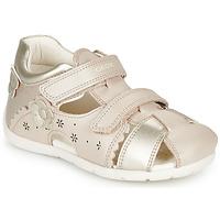 Topánky Dievčatá Sandále Geox B KAYTAN Zlatá / Béžová