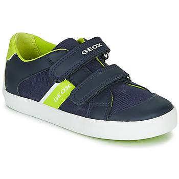 Topánky Chlapci Nízke tenisky Geox GISLI BOY Námornícka modrá / Zelená