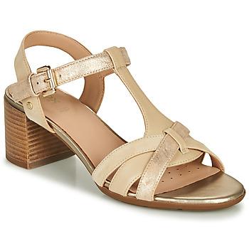 Topánky Ženy Sandále Geox D MARYKARMEN MID SAN Béžová / Zlatá