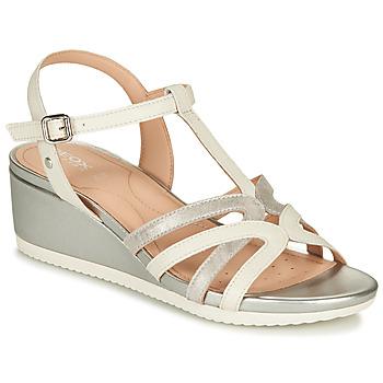 Topánky Ženy Sandále Geox D ISCHIA Biela / Strieborná
