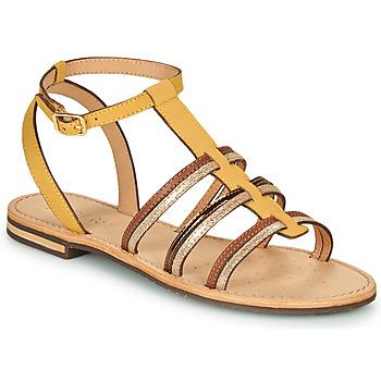 Topánky Ženy Sandále Geox D SOZY Žltá / Hnedá / Zlatá