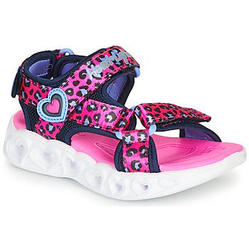 Topánky Dievčatá Športové sandále Skechers HEART LIGHTS Ružová / Čierna