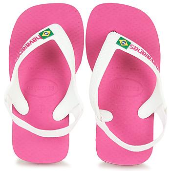 Topánky Dievčatá Žabky Havaianas BABY BRASIL LOGO II Ružová / Biela