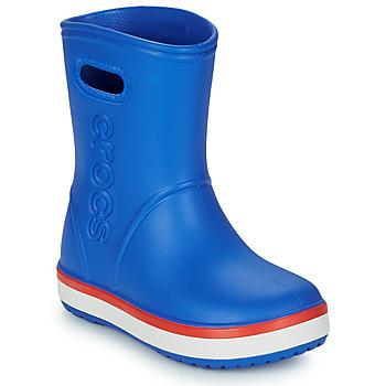 Topánky Deti Čižmy do dažďa Crocs CROCBAND RAIN BOOT K Modrá / Červená