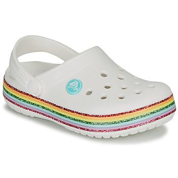 Topánky Dievčatá Nazuvky Crocs CROCBAND RAINBOW GLITTER CLG Biela