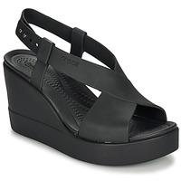 Topánky Ženy Sandále Crocs CROCS BROOKLYN HIGH WEDGE W Čierna