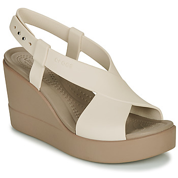 Topánky Ženy Sandále Crocs CROCS BROOKLYN HIGH WEDGE W Béžová