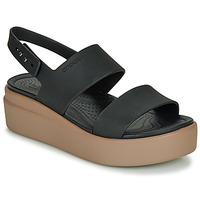 Topánky Ženy Sandále Crocs CROCS BROOKLYN LOW WEDGE W Čierna / Ťavia hnedá