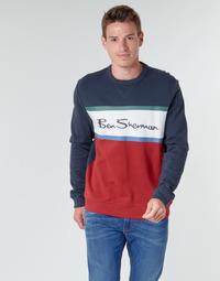 Oblečenie Muži Mikiny Ben Sherman COLOUR BLOCKED LOGO SWEAT Námornícka modrá / Červená