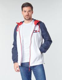 Oblečenie Muži Bundy  Tommy Jeans TJM COLORBLOCK ZIPTHROUGH JCKT Biela / Modrá / Červená