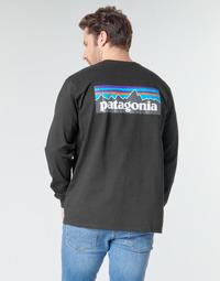 Oblečenie Muži Tričká s dlhým rukávom Patagonia M's L/S P-6 Logo Responsibili-Tee Čierna