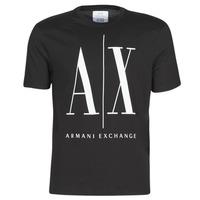 Oblečenie Muži Tričká s krátkym rukávom Armani Exchange HULO Čierna