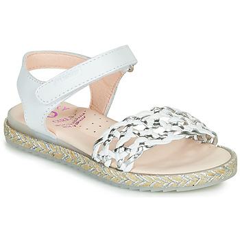 Topánky Dievčatá Sandále Pablosky MINNA Biela / Strieborná