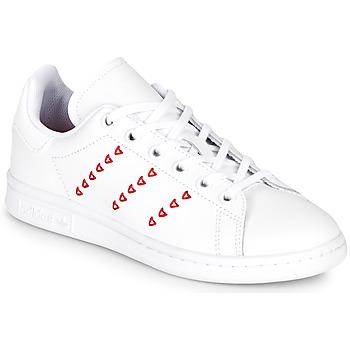 Topánky Dievčatá Nízke tenisky adidas Originals STAN SMITH J Biela / Červená