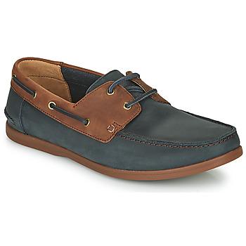 Topánky Muži Derbie Clarks PICKWELL SAIL Námornícka modrá / Hnedá