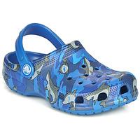 Topánky Chlapci Nazuvky Crocs CLASSIC SHARK CLOG Modrá